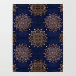 N253 - Indigo Royal Blue Heritage Oriental Moroccan Golden Floral Artwork Poster