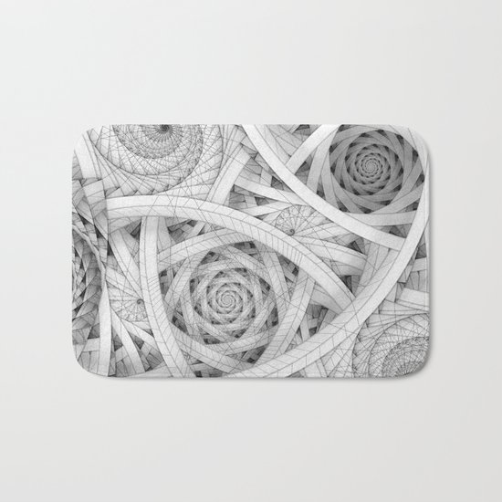 GET LOST - Black and White Spiral Bath Mat