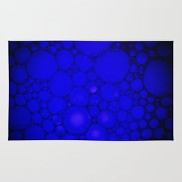 Blue Oil on Water Droplets Abstract Rug