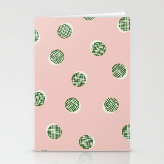 Mixed Dots - in Peach Stationery Cards