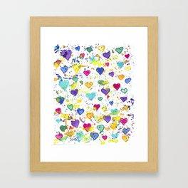 Colorful Heart Pattern Paint Splatters Framed Art Print