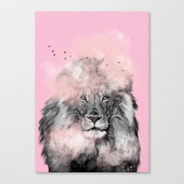 Lion in Pink Canvas Print