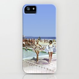 1950's Beauty Pageant by the Pool with 3 women in bathing suits and a bunch of men watching. iPhone Case