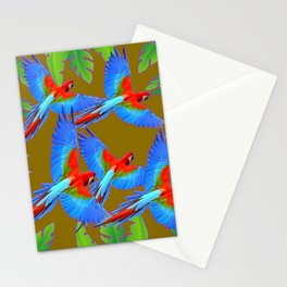 GREEN JUNGLE BLUE MACAW PARROTS Stationery Cards