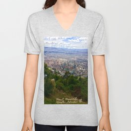 Mount Monserrate, with a 10,000 ft view of Bogota Colombia Unisex V-Neck