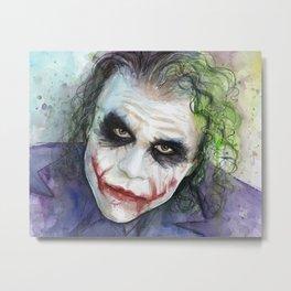 The Joker Watercolor Metal Print