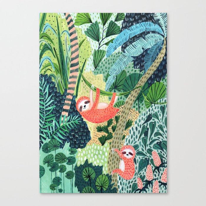 Jungle Sloth Family Canvas Print