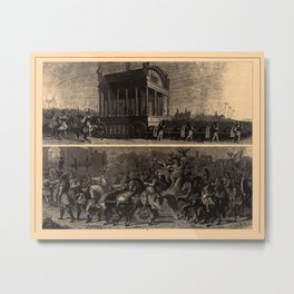 Iconographic Encyclopedia of Science, Literature and Art (1851) - Funeral of Alexander the Great Metal Print
