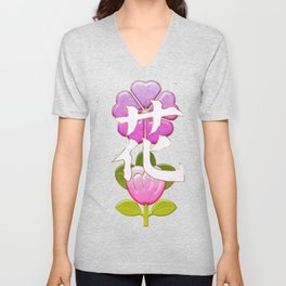Japanese Flower Jeweled Artwork Unisex V-Neck