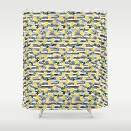 fresh pineapples on stripes watercolor Shower Curtain