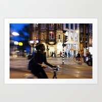 Night ride in Amsterdam Art Print