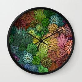 Succulent Garden Rainbow Wall Clock
