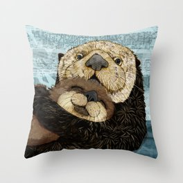 Sea Otter Mother and Baby Throw Pillow