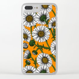 Daisies on orange Clear iPhone Case