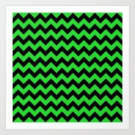Large Black and Bright Monster Green Halloween Chevron Stripes Art Print