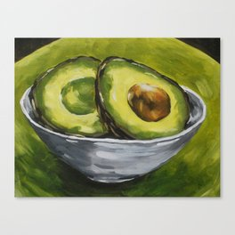Original Painting Healthy Sliced Avocado Canvas Print