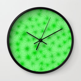 Green Fuzzball Abstract Wall Clock