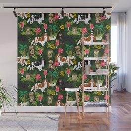 Cavalier King Charles Spaniel tiki hawaiian island tropical dog breed pattern dogs Wall Mural
