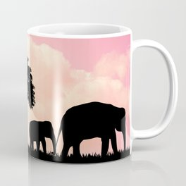 Nature background with elephants and giraffe Coffee Mug