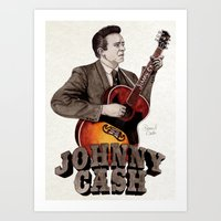 johnny cash Art Prints featuring Johnny Cash by Daniel Cash