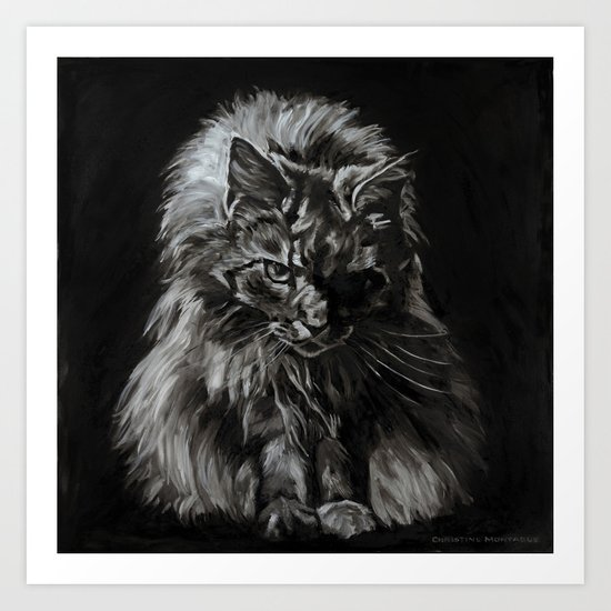 Who's for Dinner? Big Black & White Main Coon Cat Art Print