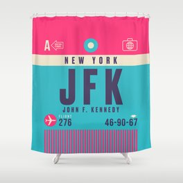 Retro Airline Luggage Tag - JFK New York Shower Curtain