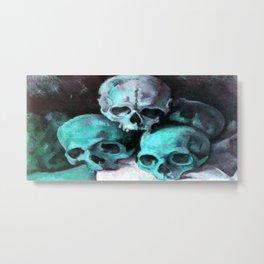 Haunted Halloween Pyramid of Skulls Metal Print