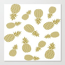 Golden pineapple pattern Canvas Print