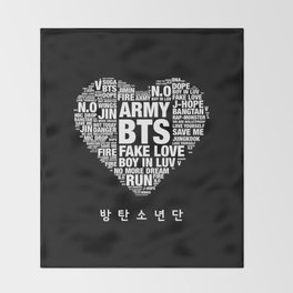 BTS ARMY Fan Art : Typography Throw Blanket