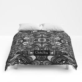 Parti Gras Black and White Comforters