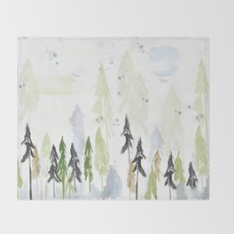 Into the woods woodland scene Throw Blanket