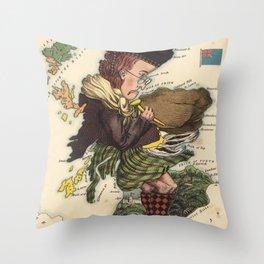 Vintage Scotland Bagpiper Map (1868) Throw Pillow