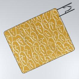 faces / mustard Picnic Blanket