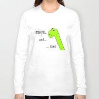 postcard Long Sleeve T-shirts featuring Rawr postcard by siti fadillah