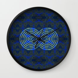 Feng Shui Symbol Royal Blue & Moss Green Medallion Print Wall Clock
