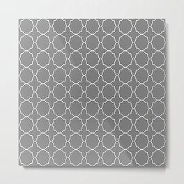 Gray Quatrefoil Pattern Metal Print