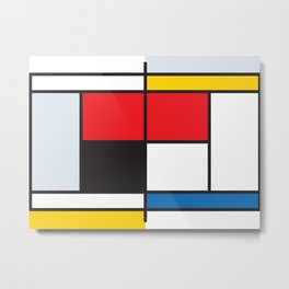 Tennis Court Mondrian Metal Print