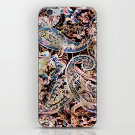 Pearly Blue and Pink Paisley Pattern iPhone Skin