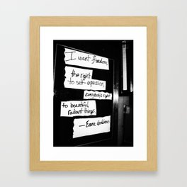 Emma Goldman Black and White Framed Art Print