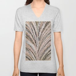 Rose Gold and Glitter Brushstroke Bursts Unisex V-Neck