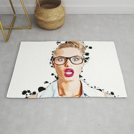 WOW Face Surprised Woman with Black Glasses and Open Mouth,  Pop-Art  Rug