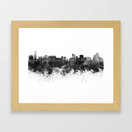 Grand Rapids skyline in black watercolor Framed Art Print
