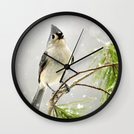 Snowy Songbird Wall Clock