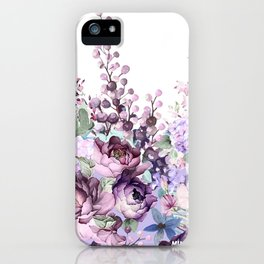Purple flowers. Roses, peonies, gerberas, gladioli. Watercolor. iPhone Case