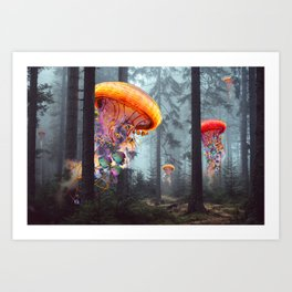 ElectricJellyfish Worlds in a Forest Art Print