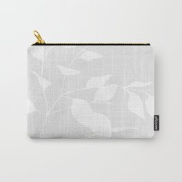 Grey & White Leaves Carry-All Pouch