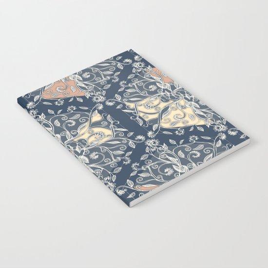 Organic Hexagon Pattern in Soft Navy & Cream Notebook