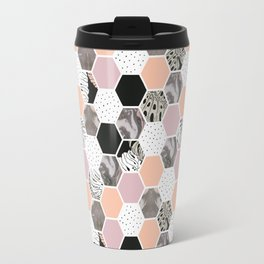 Pattern of marble hexagons and tropical textures Travel Mug