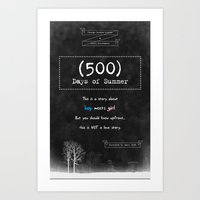 500 days of summer Art Prints featuring 500 Days of Summer by DrøpDeadRian