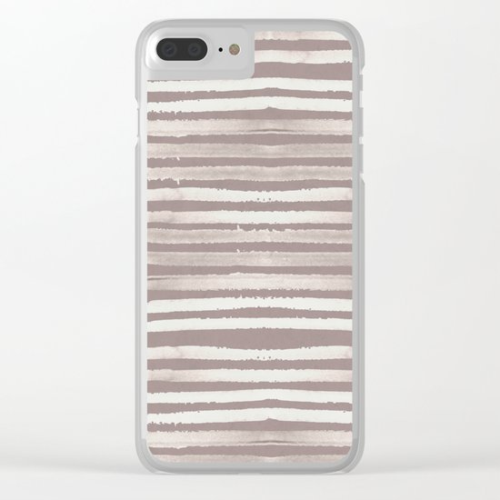 Simply Shibori Stripes Lunar Gray and Red Earth Clear iPhone Case